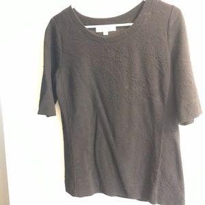 Quarter sleeve black Womens TShirt